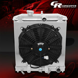 2 row Aluminum Radiator slim Fan Shroud For 1994 2000 Civic Eg eh ej em dc At