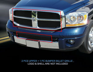 Black Billet Grille Grill Combo For Dodge Ram 1500 2006 2007 2008