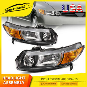 For 2006 2011 Honda Civic Coupe 2dr Chrome Housing Amber Headlights Headlamps Us