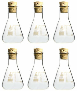 Pack Of 6 Borosilicate Flasks With Cork Stoppers 50ml