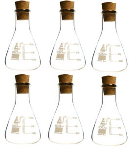 100ml Borosilicate Glass Flasks With Cork Stoppers Pack Of 6 Eisco Labs