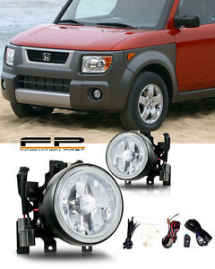 2003 2006 Honda Element Fog Lights Front Lamps Clear Lens Pair Complete Kit Pair