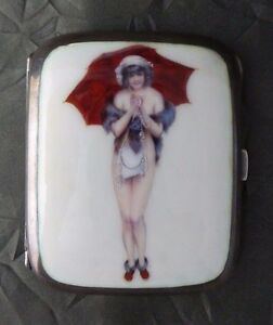 Antique Early 20th Century Hand Painted Enamel 900 Silver Erotic Cigarette Case