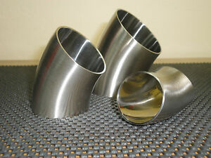 One Lot Of 10 Units 45 Sanitary Stainless Steel Weld Elbow 1 5