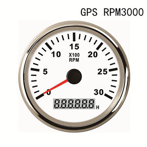 85mm White Stainless Tachometer Gauge 0 3000 Rpm For Diesel Engine