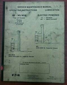 Yale Service Maintenance Manual For Me ms msb Electric Powered Itd 1336 1981