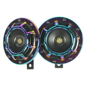 Neo Chrome Super Loud Blast Tone Grill Mount 12v Electric Compact Car Horn