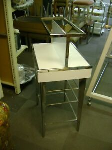 White Chrome Small Two Tier Retail Store Fixture Merchandise Display Table
