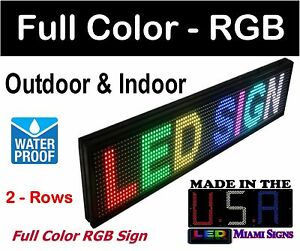 Led Digital Sign Full Color Rgb Size 8 X 40 Outdoor And Indoor Use Made In Us