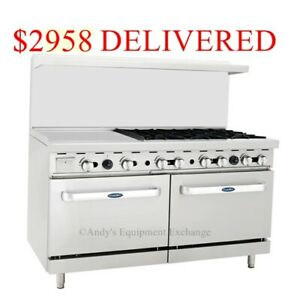 New 60 6 Burner Range Top W 2 Ovens And 24 Left Side Griddle Gas Ato 24g6b