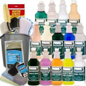 Professional Car Detailing Kit Wash Shine Protect Tools 24 Pc 16 Oz Bottles
