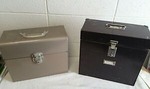 Vintage 2 Industrial military brown tan Metal Expanding File Case box Retro