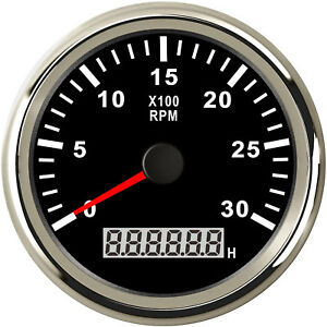 85mm Black Stainless Tachometer Gauge 0 3000 Rpm For Diesel Engine