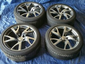 Four 2015 Nissan 370z Factory 19 Wheels And Tires Oem Rims Rays Forged