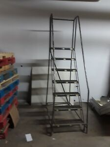 7 Step Roll Around Staircase rolling Ladder stairs On 4 Spring Loaded Wheels