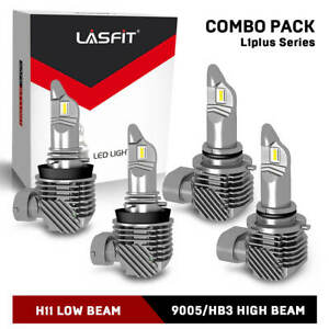 4x Lasfit Combo H11 9005 Hb3 Led Headlight Bulb 6000k 120w 15200lm High Low Beam