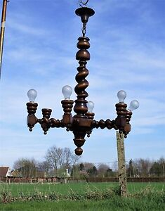Barley Twist Wooden Chandelier Hand Carved Wood 6 Arm Lights Vintage