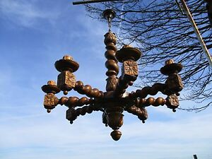 Barley Twist Twisted Wooden Chandelier Carved Wood 8 Arm Lights Antique