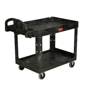 Rubbermaid Commercial 452088bk Heavy duty 2 shelf Utility Cart Black New