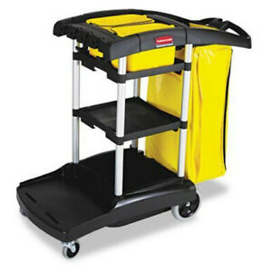 Rubbermaid 9t7200bk High Capacity Cleaning And Janitorial Supply Cart Black New