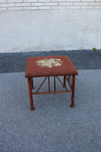 Antique 19th C Shaker Style Square Maple Bench Stool Original Needlepoint