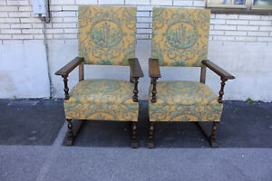 Charming Large Comfortable Pair Of Oak Spanish Revival Side Accent Armchairs