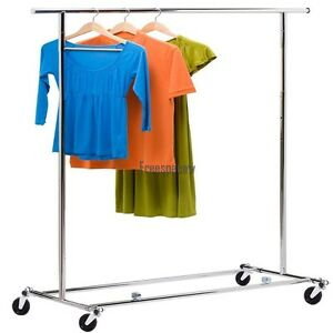 60 8 Single Rod Clothing Rack Garment Rolling Portable Steel Extendable Rail Fp