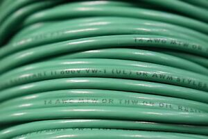 14 Awg Mtw Copper Wire 19 Strand 500ft Spool Green