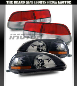 96 98 Civic Ek Ej 2dr Black Crystal Clear Headlights jdm Red Clear Tail Lamps