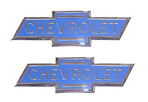 1936 1937 1938 Hood Side Emblems Blue Chevrolet Bowtie Chevy Pickup Truck Pair