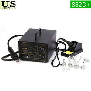 2in1 Soldering Station Rework Hot Air Iron 852d 5 Tips Smd Us Shiping