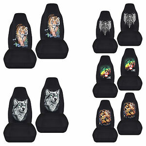 Cc Front Set Cotton Car Seat Covers W Tiger Wolf Skull Fits 94 04 Ford Mustang