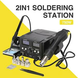 8582 2in1 Smd Soldering Rework Station Iron Hot Air Desoldering Repair 110v Smd