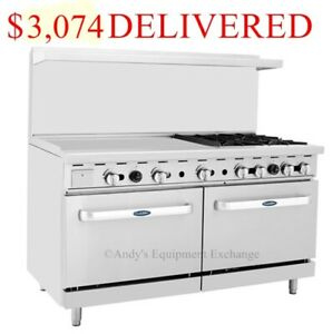 60 Inch 5 Foot 4 Burner Range Top With Double Ovens 36 Left Side Griddle