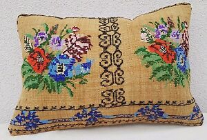 Needlepoint Tapestry Aubusson Woven Kilim Rug Lumbar Pillow Cover 16 X 24