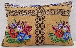 16x24 French Decor Needlepoint Tapestry Aubusson Kilim Rug Lumbar Pillow Cover