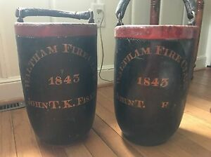 Antique Fire Buckets Waltham Fire Co 1843 John T K Fiske