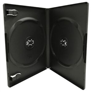 100 Standard Black Double Dvd Cases 14mm w Patented M lock Hub