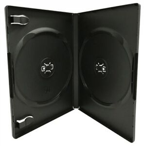 400 Standard Black Double Dvd Cases 14mm w Patented M lock Hub