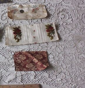 3 Small Collectors Dolls Samples Of Antique French 18thc Silk Brocades Fabrics