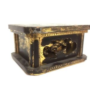 Antique Early 1800 S Or Earlier Japanese Lacquered Stand With Foo Dog
