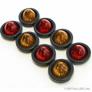 8 New 2 Led Beehive Side Clearance Marker Lights W Grommet Wiring 4 Red 4 Amber