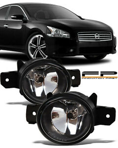 For 2007 2014 Nissan Maxima Front Replacement Fog Light Housing Clear Lens Pair