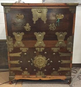 Vintage Korean Chest With Drop Front Desk Price Reduction Free Shipping