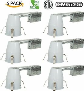 6 Pack 4 Inch Remodel Led Can Air Tight Ic Housing Led Recessed Lighting Etl