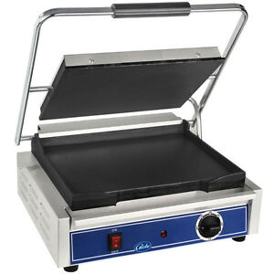 Globe Gsg1410 Panini Grill 14 1 2 x 10 Cast Iron Smooth Plates