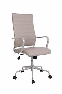 Mid High back Executive Office Factor Chair 360 degree Ribbed Upholstered Gray