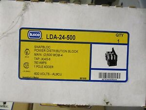 Ilsco Lda 24 500 1 Pole Snap bloc Power Distribution Block New
