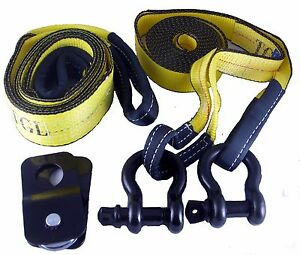 Off Road Recovery Kit 2 3 4 D Rings 2 Straps 3x8 And 2x20 4ton Snatch Blk