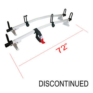 Universal Ladder Rack System 72 Angled Cross Bars White Fits Most Van Roof